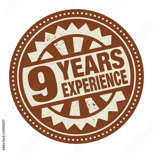 Abstract stamp or label with the text 9 years experience written