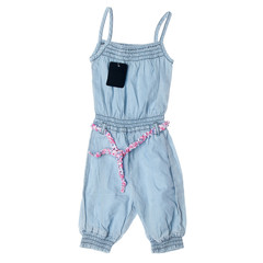 Children's denim clothes on a white background
