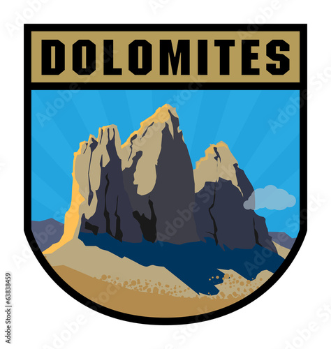 Mountain adventure label, vector illustration