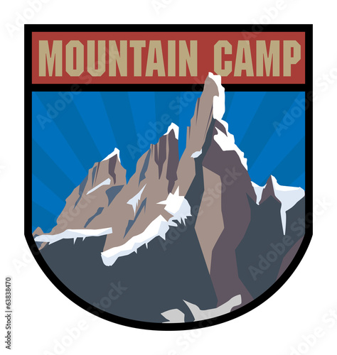 Mountain camp label, vector illustration