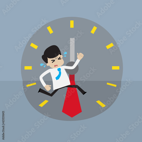 Businessman  racing with time