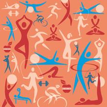 Fitness iconen decoratieve achtergrond