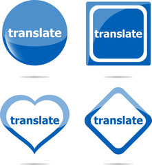 translate stickers set isolated on white, icon button