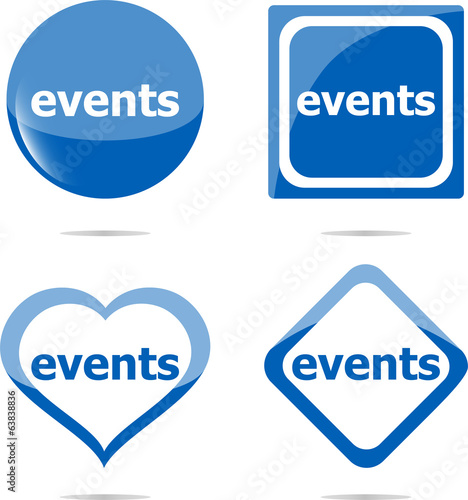 events stickers set isolated on white, icon button