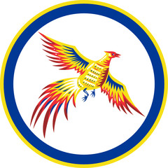 Pheasant Bird Fowl Flying Woodcut Circle