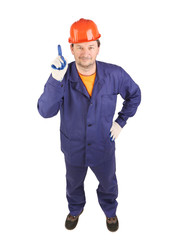 Worker in blue uniform show one.