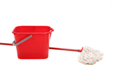 Mop and red bucket.