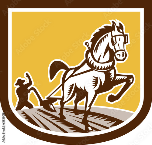 Farmer and Horse Plow Farm Crest Woodcut Retro
