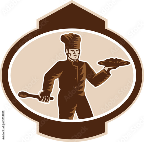 Chef Cook Serving Food Platter Woodcut Retro
