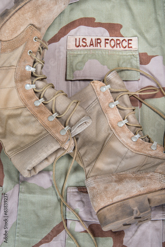 Combat boots and Air Force uniform