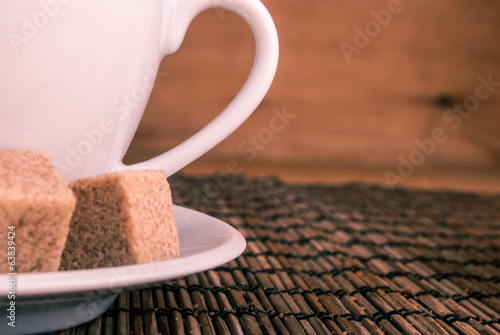 coffe on table with brown sugar