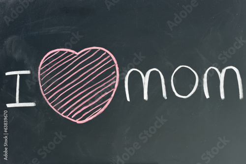 hand written I love MOM on chalkboard