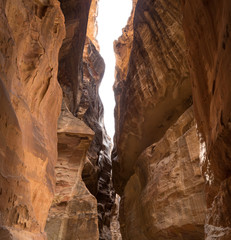 The 1.2km long path (Siq)  to the city of Petra, Jordan