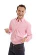 Geschäftsmann in rosa mit positiver Ausstrahlung