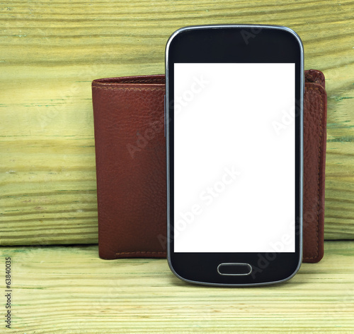 Mobile devise with wallet isolated on white