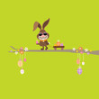 Bunny Sunglasses Tree Handcart Easter Eggs Green