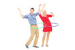 Happy man and woman exercising with hula hoop