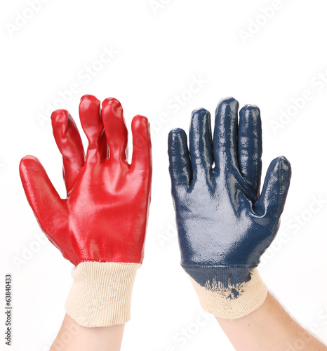 Two protective gloves on hands.