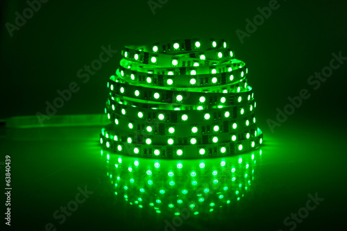 Green glowing LED garland, strip
