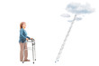 Woman with walker standing in front of ladder