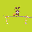 Bunny Glasses Tree Barrow Easter Eggs Green