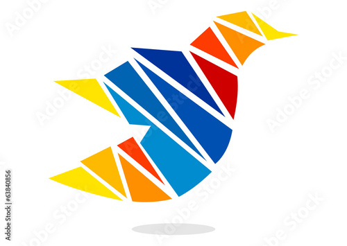 bird colourful triangle media icon