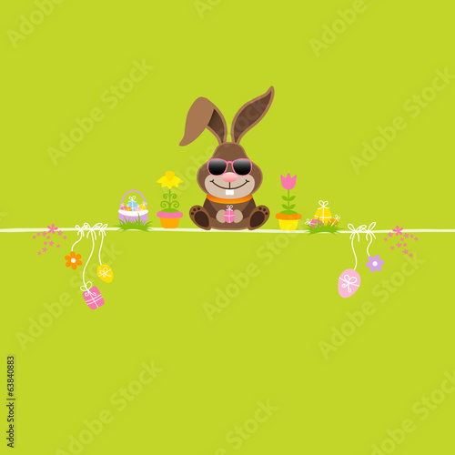 Easter Bunny Sun Glasses & Symbols Green