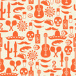 Mexican seamless pattern with icons in native style. - 63841063