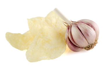Potato chips and garlic