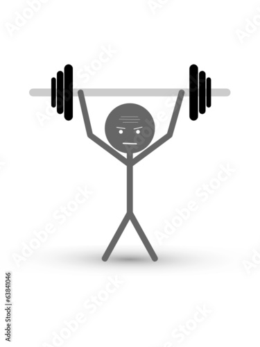 STICKMAN LIFTING WEIGHTS (effort work team stress pressure)