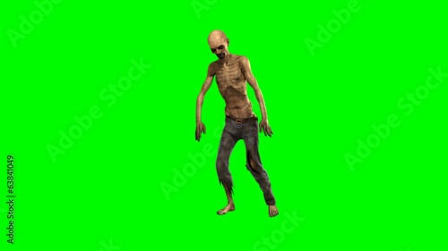 walking dead undead zombie walk  - seperated on green screen