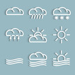 Vector set of white weather Icons