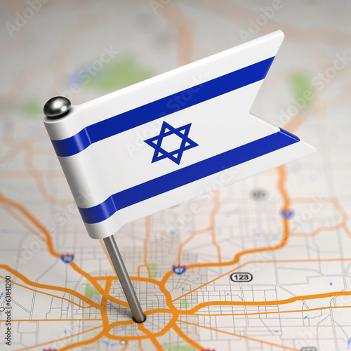 Israel Small Flag on a Map Background.