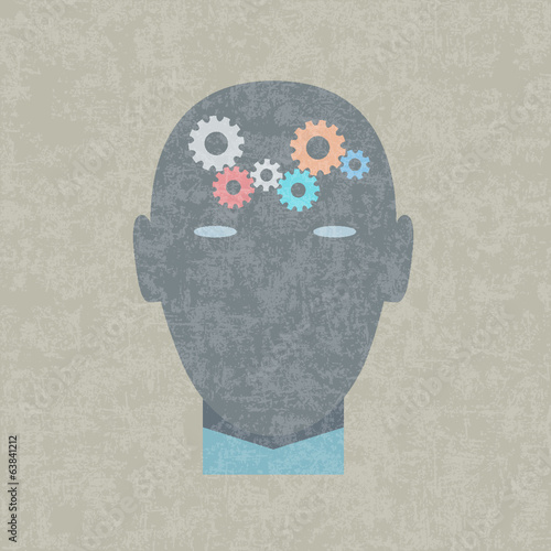 Creative vector illustration of gears in human head
