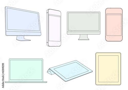 Digital devices in pastel colors