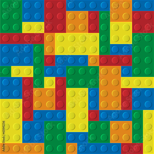 Vector seamless pattern of plastic building blocks
