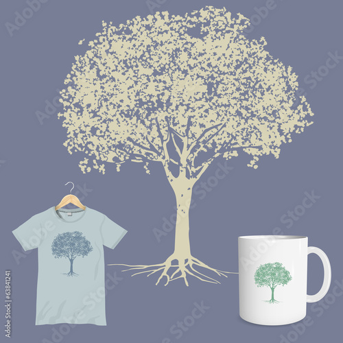 Vector print of silhouette tree