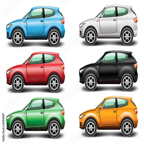 Icons Car SUV of different colors on a white background