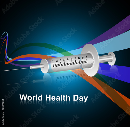 Syringe for World health day medical symbol concept colorful wav