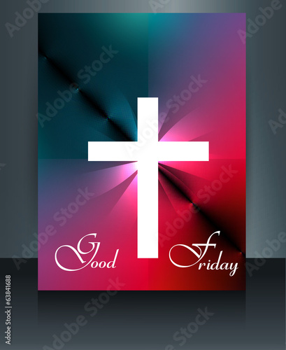 Beautiful brochure colorful template Cross for Good Friday refle