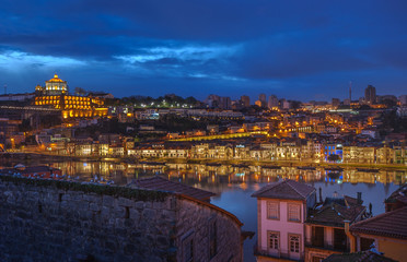 Night panorama of Porto and Vila Nova de Gaia, Portugal