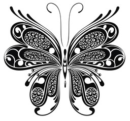 Black butterfly. Tattoo design