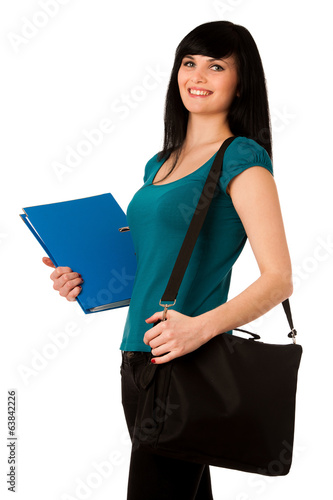 young woman student with schoolbag and folder isolated