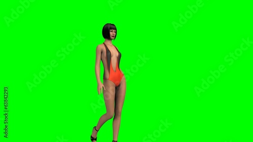 Hot Girl in sexy swimsuit walk  -  green screen