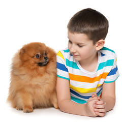 Little boy with a small dog