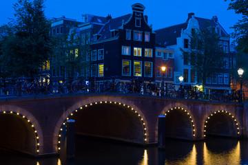 Amsterdam bridge at black night