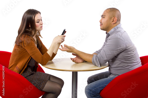 ignoring a boring date while on a cell phone