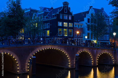 Amsterdam bridge at black night