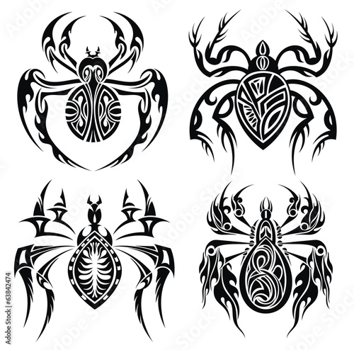 Tribal spiders. Tattoo design