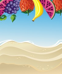 Summer illustration with fruits